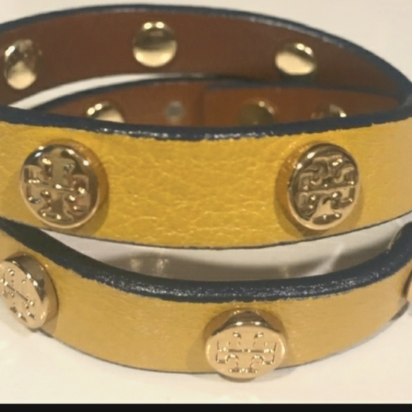Tory Burch Yellow Leather Wrap Bracelet